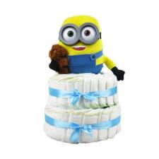 Pelenkatorta Webshop Babaváró ajándék ötlet: Minion Bob macival pelenkatorta kék pelenka