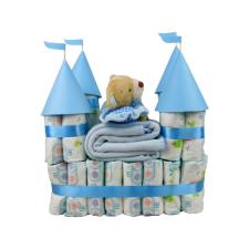 Pelenkatorta Webshop Babaváró ajándék ötlet: Pelenkatorta kék vár plüss macival pelenka
