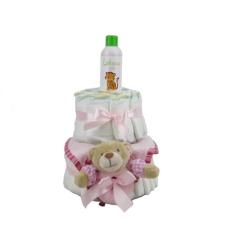 Pelenkatorta Webshop Babaváró ajándék ötlet: Pelenkatorta kislánynak BabyZoo babaolajjal pelenka