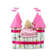 Pelenkatorta Webshop Babaváró ajándék ötlet: Pelenkatorta rózsaszín vár macival pelenka