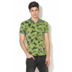 Pepe Jeans London , BECKER slim fit levélmintás galléros póló, Zöld, S (PM540989-637-S)