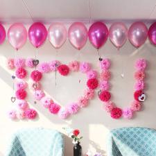 Pom-pom dekoráció, rózsaszín dekoráció