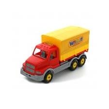 Ponyvás teherautó 44cm autópálya és játékautó