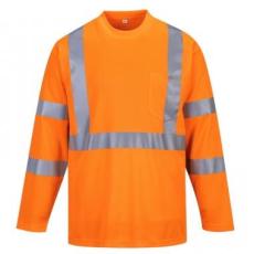 Portwest S191 - Hivis hosszú ujjú póló zsebbel - narancs