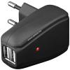 Powery Goobay USB hálózati adapter töltő 220V 2db USB fekete (2A) tablethez, okostelefonhoz