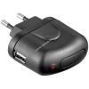 Powery Goobay USB hálózati töltő 220V USB fekete (1A)