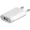 Powery töltő / USB töltőadapter USB 1A lapos  Okostelefon, Tablet, Powerbank, MP3 lejátszó fehér