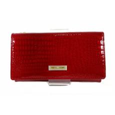 Prestige piros, két oldalas krokkó lakk bőr női pénztárca-zippes 55020