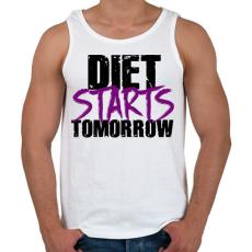 PRINTFASHION A diéta holnaptól kezdődik - Férfi atléta - Fehér