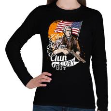PRINTFASHION A fegyver dicsősége - Női hosszú ujjú póló - Fekete