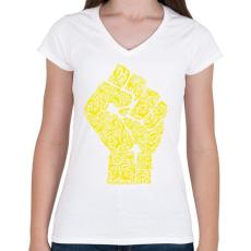 PRINTFASHION A forradalom keze - Női V-nyakú póló - Fehér