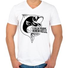 PRINTFASHION A halak hívnak - Férfi V-nyakú póló - Fehér