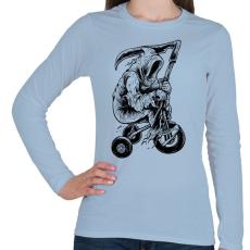 PRINTFASHION A kaszás biciklije - Női hosszú ujjú póló - Világoskék