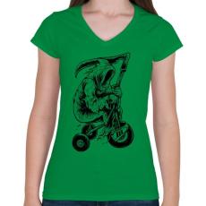 PRINTFASHION A kaszás biciklije - Női V-nyakú póló - Zöld