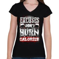 PRINTFASHION A kifogások nem égetnek kalóriát - Női V-nyakú póló - Fekete