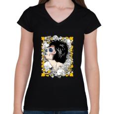 PRINTFASHION A királynő és a koponyák - Női V-nyakú póló - Fekete