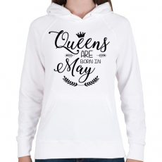 PRINTFASHION A királynők májusban születnek - Női kapucnis pulóver - Fehér