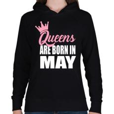 PRINTFASHION A királynők májusban születnek - Női kapucnis pulóver - Fekete