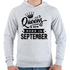 PRINTFASHION A királynők szeptemberben születnek - Férfi kapucnis pulóver - Sport szürke