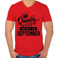 PRINTFASHION A királynők szeptemberben születnek - Férfi V-nyakú póló - Piros