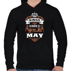 PRINTFASHION A királyok májusban születnek - Férfi kapucnis pulóver - Fekete