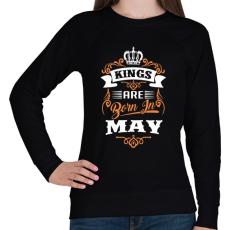 PRINTFASHION A királyok májusban születnek - Női pulóver - Fekete