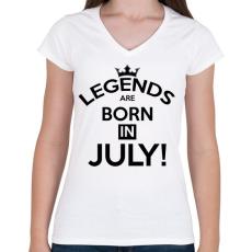 PRINTFASHION A legendák Júliusban születnak - Női V-nyakú póló - Fehér