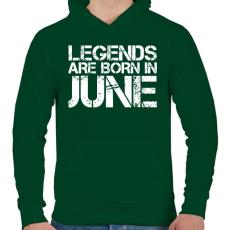 PRINTFASHION A legendák júniusban születnek - Férfi kapucnis pulóver - Sötétzöld