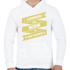 PRINTFASHION A legendák szeptemberben születnek - Férfi kapucnis pulóver - Fehér