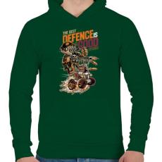PRINTFASHION A legjobb védekezés a támadás - Férfi kapucnis pulóver - Sötétzöld