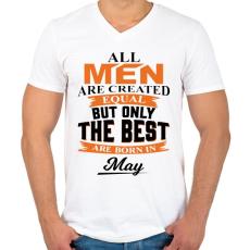PRINTFASHION A legjobbak Májusban születtek! - Férfi V-nyakú póló - Fehér
