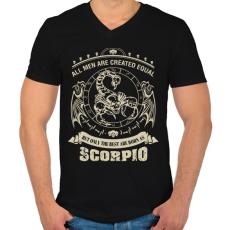 PRINTFASHION A legjobbak skorpiónak születtek - Férfi V-nyakú póló - Fekete