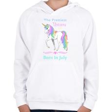 PRINTFASHION A legszebb egyszarvúak júniusban születnek - Gyerek kapucnis pulóver - Fehér