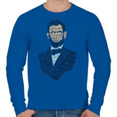 PRINTFASHION Abraham Lincoln - Férfi pulóver - Királykék