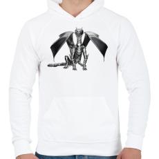 PRINTFASHION Acélsárkány - Férfi kapucnis pulóver - Fehér