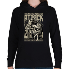 PRINTFASHION Acélszörny - Női kapucnis pulóver - Fekete