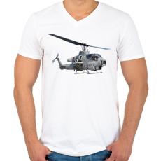 PRINTFASHION AH-1 Cobra - Férfi V-nyakú póló - Fehér