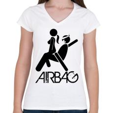 PRINTFASHION Airbag - Női V-nyakú póló - Fehér