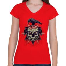 PRINTFASHION Állati ösztön - Női V-nyakú póló - Piros