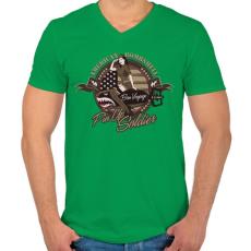PRINTFASHION Amerikai bombázó - Férfi V-nyakú póló - Zöld