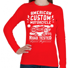 PRINTFASHION Amerikai hagyományos motor  - Női hosszú ujjú póló - Piros