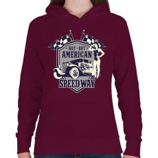 PRINTFASHION Amerikai hot rod - Női kapucnis pulóver - Bordó