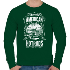 PRINTFASHION Amerikai Hotrod  - Férfi pulóver - Sötétzöld