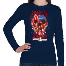 PRINTFASHION Amerikai juhászkutya - Női hosszú ujjú póló - Sötétkék