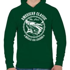 PRINTFASHION Amerikai klasszikus - Férfi kapucnis pulóver - Sötétzöld