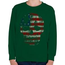 PRINTFASHION Amerikai koponya - Gyerek pulóver - Sötétzöld