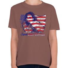 PRINTFASHION Amerikai lány - Gyerek póló - Mogyoróbarna