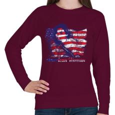 PRINTFASHION Amerikai lány - Női pulóver - Bordó