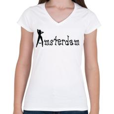 PRINTFASHION amsterdam-black-white - Női V-nyakú póló - Fehér