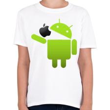 PRINTFASHION Android megeszi az almát - Gyerek póló - Fehér gyerek póló